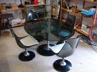 Vintage Retro Smoke Gray Lucite Tulip Glass Top Table 4 Swivel Chairs