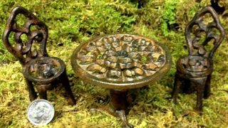 Miniature Fairy Garden Table and Chairs Set Metal Cast Iron Decor Dollhouse