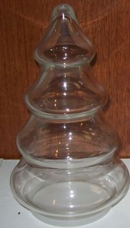 Clear Glass Christmas Tree Shape Candy Jar