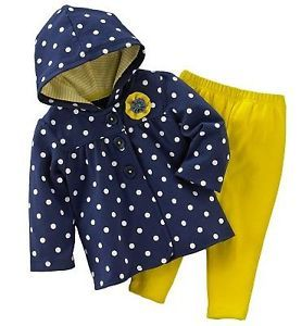 Carters Baby Girl Clothes 2 Piece Set Navy Blue Yellow 3 6 9 12 18 24 Months