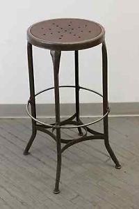 Vintage Industrial Toledo Uhl Draftsman Stool Machine Age Chair 1940s Art Steel