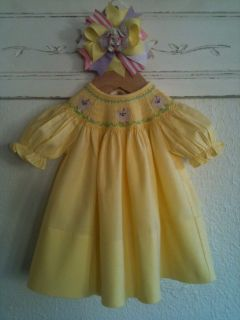 Rosalina Baby Girls' Smocked Yellow Easter Spring Bishop Dress Sheep Lambs 6M