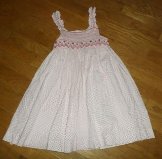 Girls Luli Me Smocked Red White Polka Dot Dress Sz 3T Sundress