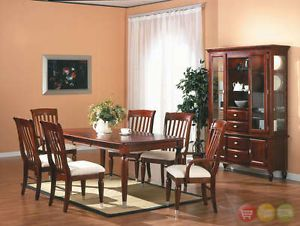 Cherry Modern Dining Room 7 Piece Set Table Chairs New