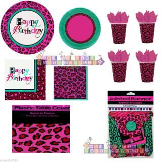 Leopard Animal Print Pink Green Birthday Party Supplies Pick Only What U Need