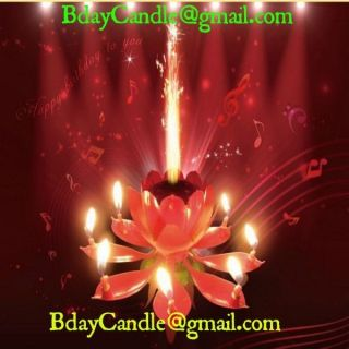 2014 Sparkling Musical Lotus Happy Birthday Candle Flower Cake Topper from USA