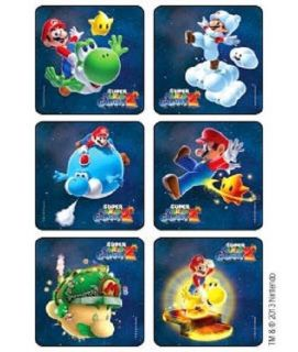 18 Super Mario Bros Galaxy 2 Stickers Party Favors