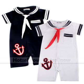Cute Baby Boy Girl Toddlersailor One Piece Romper Suit Grow Outfit Summer Marine