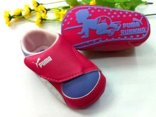 New Puma Soft Sole Baby Girl's Pink Purple Sneakers Crib Shoes Age 0 18 Months