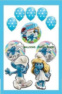 Happy Birthday Smurfs Balloons Polka Dot 10 Set Blue Decorations Party Supplies