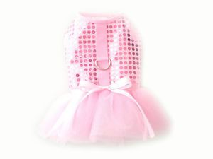 Pink Bling Bling Party Dog Apparel Clothes Harness Tutu Dress