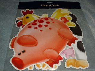 On The Farm Barn Animal Birthday Party 3 Assorted Cutouts Pig Cow Chicken
