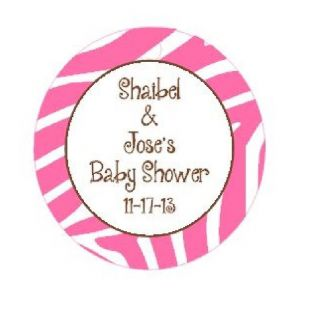 20 Personalized Zebra Print Girls Couples Baby Shower Party Favors Tags