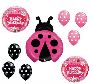 Pink Ladybug Lady Bug Polka Dots Jungle Birthday Party Mylar Latex Balloon Set