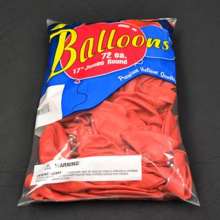 "Red Balloons 72 Pack TUF Tex 17"" Jumbo Round Latex Balloons"