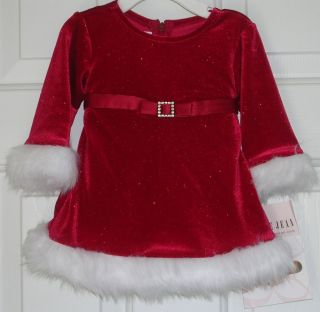 Bonnie Jean New Infant Baby Girl Red Christmas Dress Size 3 6 Months Boutique