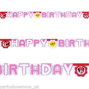 2 2M Disney Minnie Mouse Polka Dots Red Party Happy Birthday Letter Banner