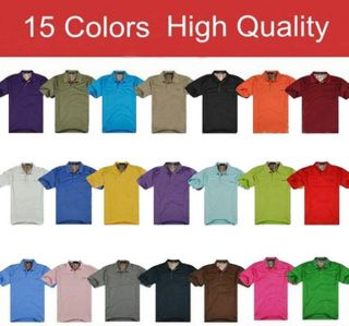 Hot Men's Plain Sleeve Casual Poloshirt Jersey T Shirt Tops 4 Sizes 15 Colors
