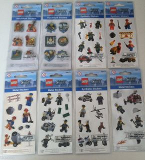 Lego City Minifigure Stickers Police Fireman Construction Decals Party Favors