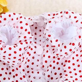 Lovely Red Polka Dots White Dress Skirt Pet Dog Puppy Apparel Clothes M