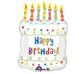 "23"" Big Happy Birthday Cake Shaped Balloon Candle White"