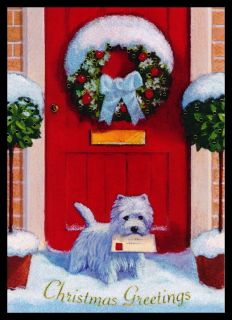 David Price West Highland White Terrier Dog Christmas Glitter Greeting Card A18