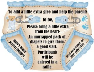 25 Unique Personalized Diaper Raffle Ticket Baby Shower Invitation Inserts Favor