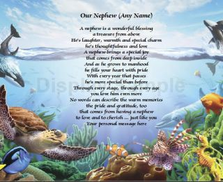 Personalized Poem for Nephew Birthday or Christmas Gift Under The Sea Print