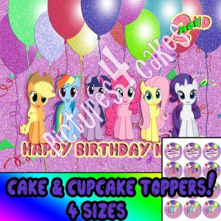 My Little Pony 2 Birthday Cake Cupcakes Topper Edible Picture Decoration Party