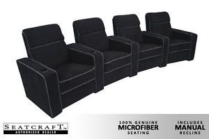 Seatcraft Lorenzo Home Theater Seating 4 Manual Seats Black Chairs Curved Row