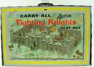 Louis Marx Carry All Fighting Knight Play Set 84 Pcs Vtg 50s Vikings Style 4635