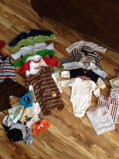 Cute Baby Boy 3 6 Month Clothing Lot 33 Pieces with Receiving Blankets Hats