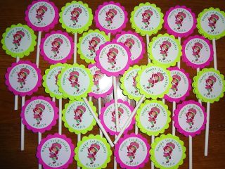 30 Strawberry Shortcake Cupcake Toppers Birthday Party Favors Personalized