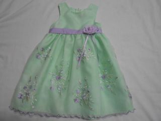 Infant Toddler Girls Green Lavender Spring Summer Easter Dress Size 24 Months