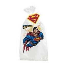 Superman Super Hero Birthday Party 8 Favor Cello Treat Sacks with Twist Ties