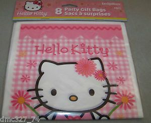 Samrio Hello Kitty Girl Pink Party Favor Supplies Plastic Goody Treat Favor Bags