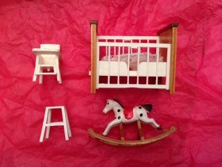 Nursery Set Crib Rocking Horse High Chair etc Fits Lundby Barton All 1 16 SC