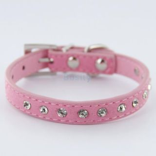 Adjustable Pet Dog Cat Crystal Rhinestone Cow Suede Neck Safety Collar Choice