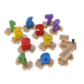 Wooden Train 10 Digits 0 9 Number Railway Kids Wood Mini Toy Educational Figures