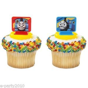 8 Thomas The Tank Cupcake Toppers Birthday Party Supplies Favors Decorations