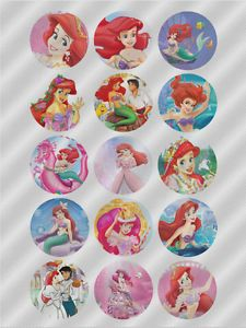 N429 Edible Image Birthday Cake Cupcake Cookie Toppers Princess Ariel Mermaid