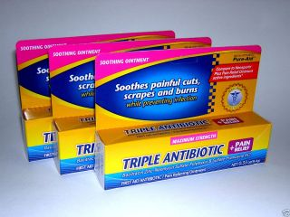 3X Pure Aid Triple Antibiotic Ointment with Pain Relief Three 33 oz Tubes