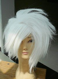 036 New Short White Cosplay Party Head Explosion Wig