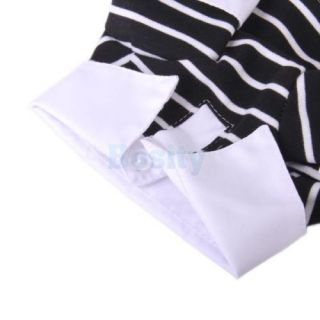 Black w White Stripes Polo Cotton Shirt Clothes Collar for Pet Handsome Dog M