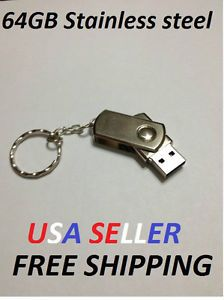 64GB Stainless Steel USB Flash Drive Disk Memory Stick Pendrives Thumbdrives