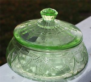 RARE Flat Candy Dish Covered Green Depression Glass Cameo Ballerina with Lid