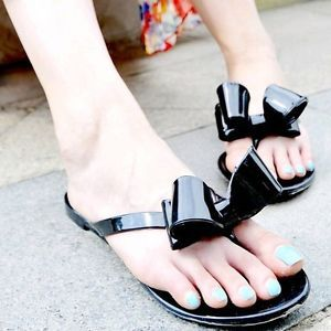 Girl's Summer Beach Ribbon Bow Thong Jelly Flip Flops Flat Shoes Sandal Black
