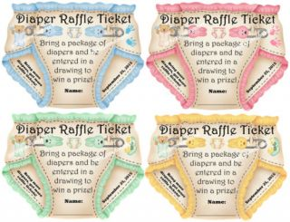 Unique Personalized Diaper Raffle Ticket Baby Shower Invitation Inserts Favor