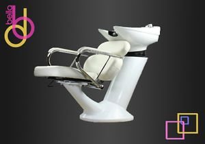 Shampoo Backwash Unit Bowl Chair Salon Spa Sink Equipment All White