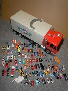 Huge Lot Over 80 Galoob Micro Machines Cars Semi Transport Fold Out Truck Track